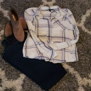 WHBM Longsleeve Plaid Button Shirt Size 12